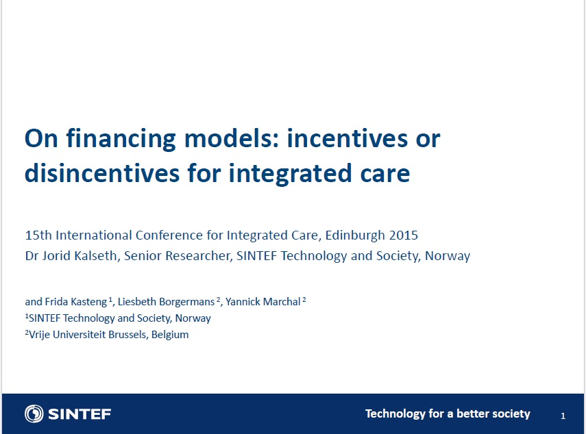 On financing models: incentives or disincentives for integrated care